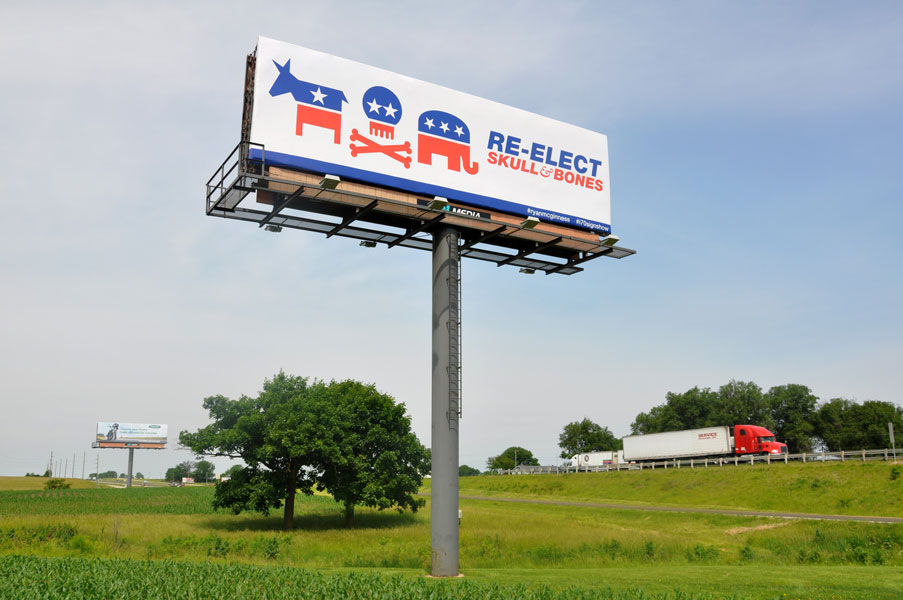 Ryan McGinness, Re-elect Skull & Bones billboard side view
