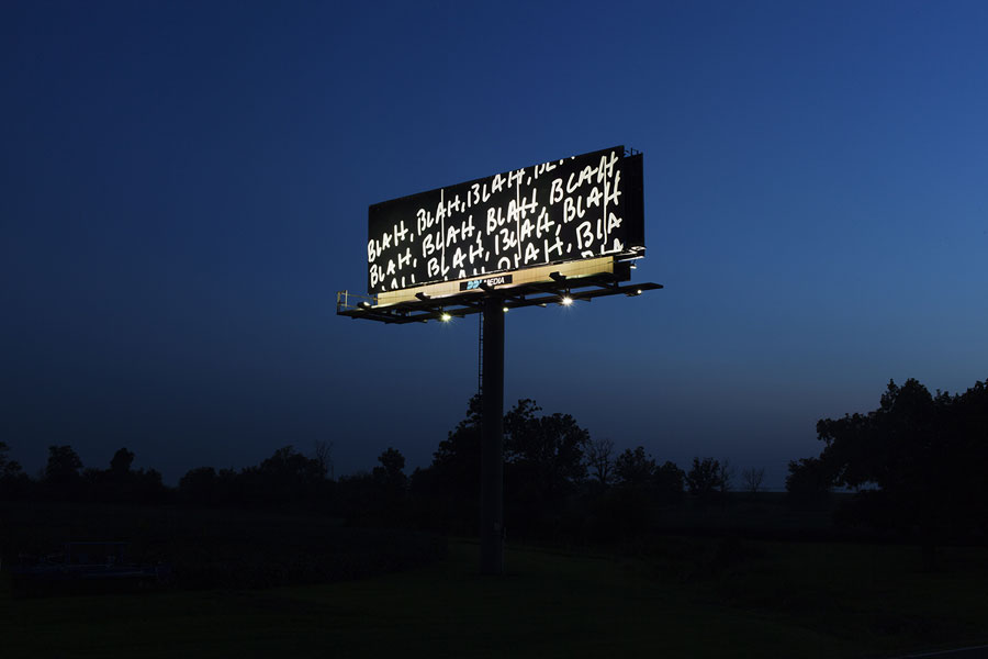 Mel Bochner billboard I70SignShow night 04